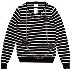 Chanel Black & White Cashmere Embellished Sweater Sz FR44 NWT