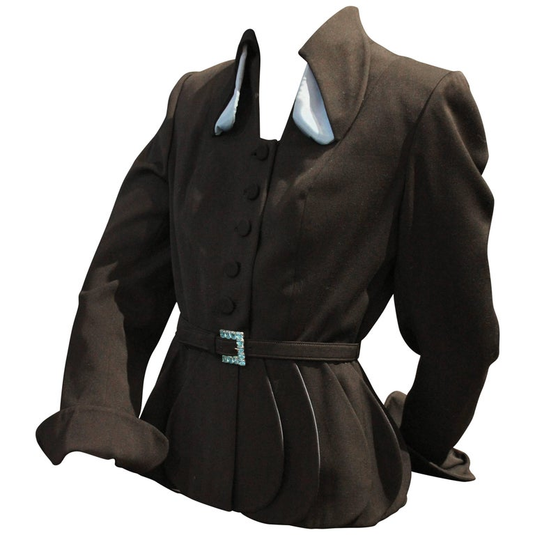 "1950s Lilli Ann Black Gabardine Jacket w Blue Lined ""Petal Peplum""  For Sale"
