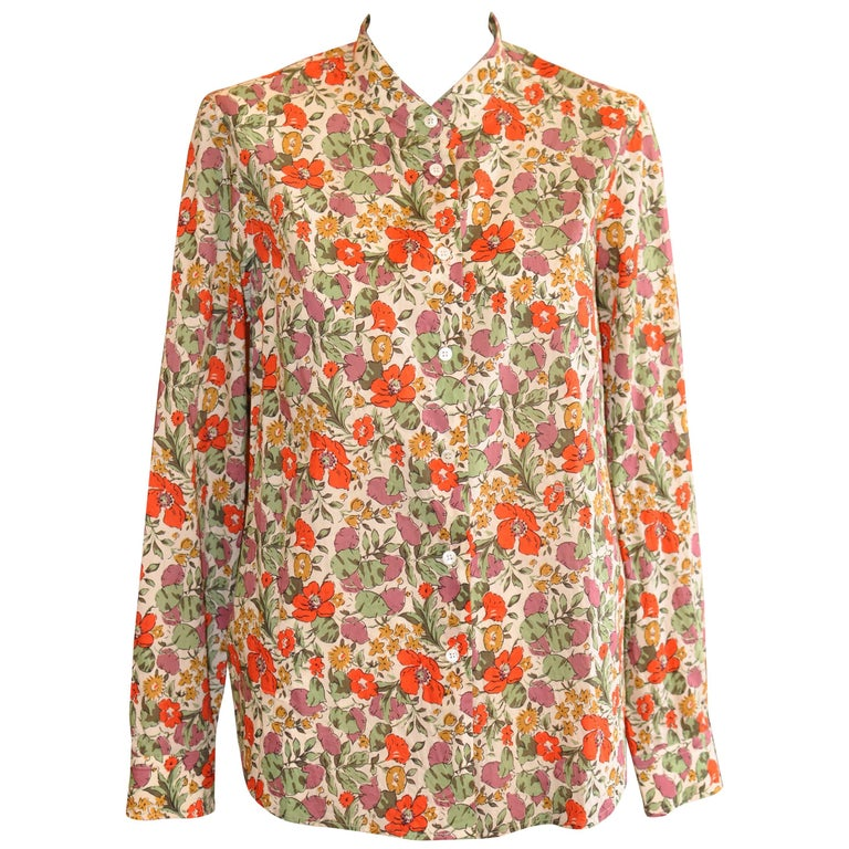 Sonia Rykiel Cotton Floral Shirt (44 Fr) For Sale