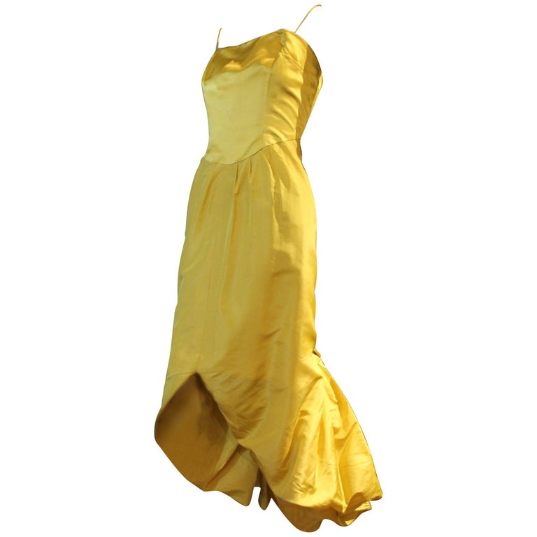 Late 1950s Philip Hulitar Canary Yellow Pouf Fishtail Cocktail Dress