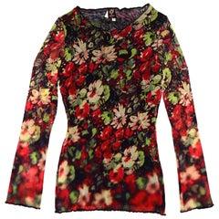 Jean Paul Gaultier Floral Longlseeve Top Sz L