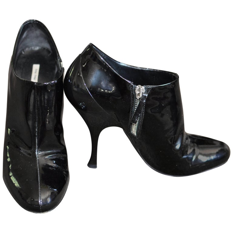 Miu Miu Black Patent Leather Ankle Booties 36.5