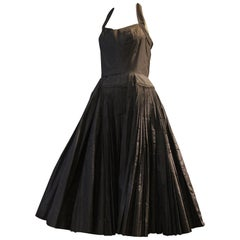 1950s James Galanos Couture Knife Pleated Silk Taffeta Halter Cocktail Dress