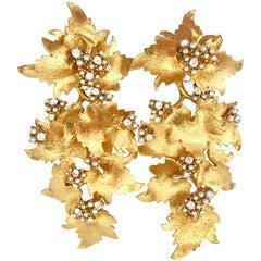 """Stanley Hagler Style Gold Seed Pearl & Crystal Rhinestone 4"""" Leaf Drop Earrings"""