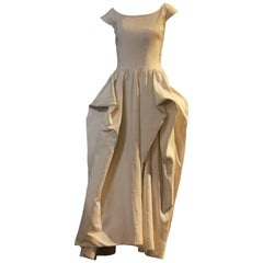 Late 1940s Ceil Chapman Ivory Rayon Faille Ball Gown w Gathered Pouf Hips