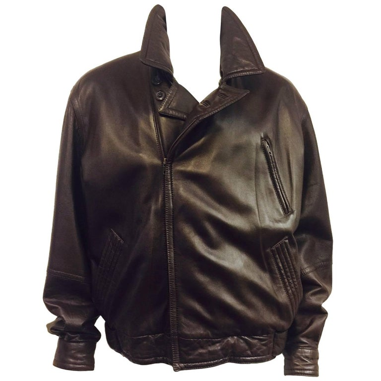 0f2399ade8281 Men's Vintage Bally Leather Flight Bomber Jacket in Cocoa Sz XXL
