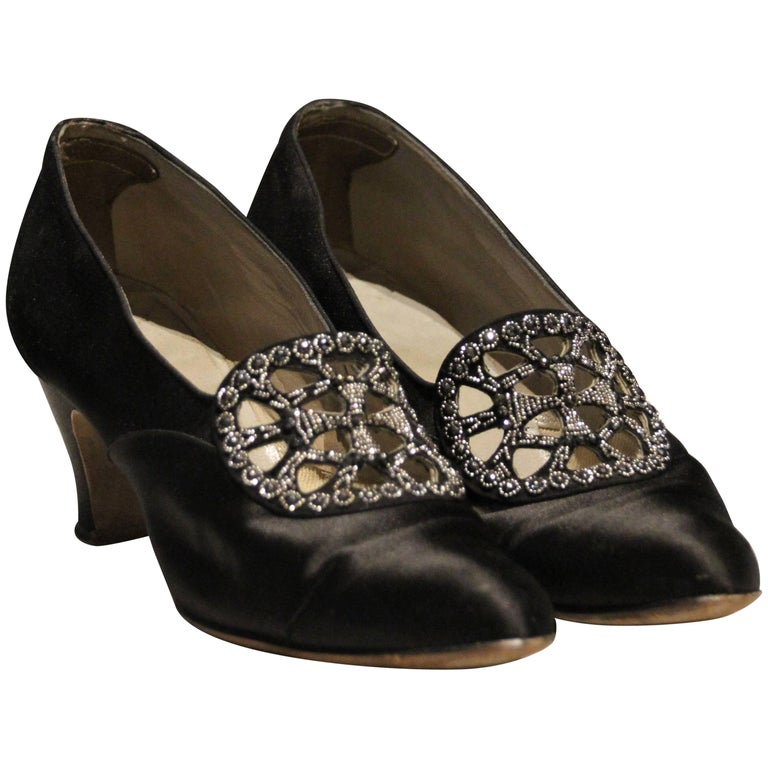 1920s Art Deco Black Silk Evening Pumps w Beautiful Marcasite Beading at Throat