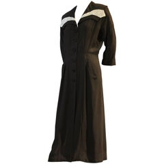 Late 1940s Fred A. Block Black Crepe Shirtwaist Dress w Pale Blue Beaded Insets
