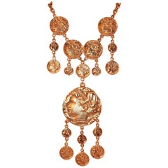 Rich 1970's Trifari Gold Coin Medallion Necklace