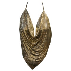 1970s Whiting and Davis Gold Metal Mesh Bias Drape Halter Top