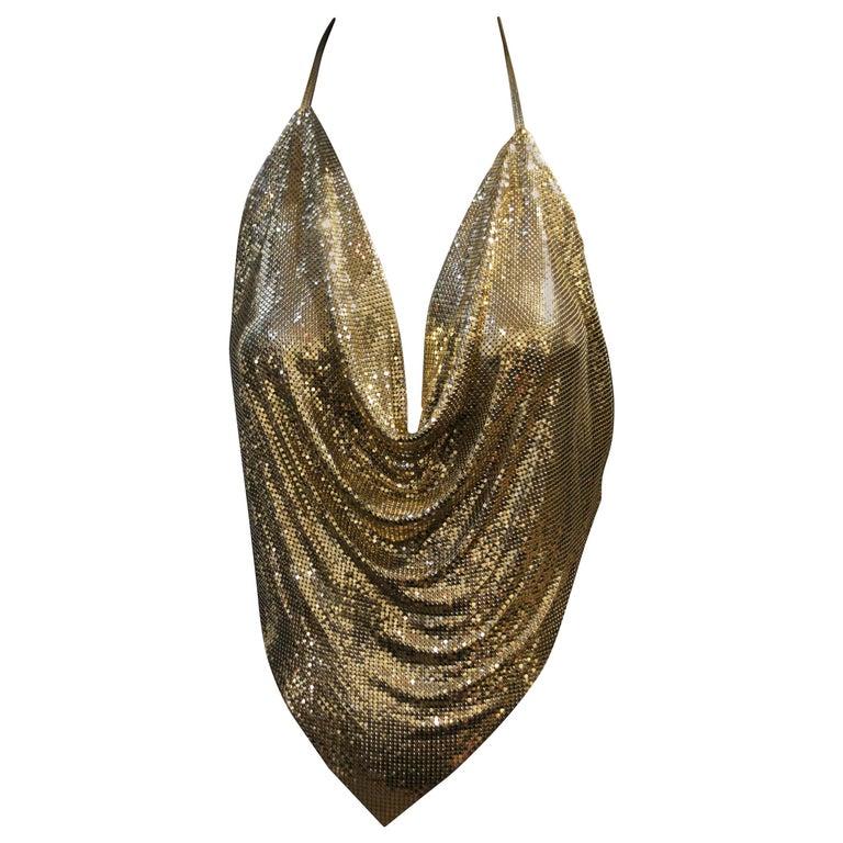 1970s Whiting and Davis Gold Metal Mesh Bias Drape Halter Top