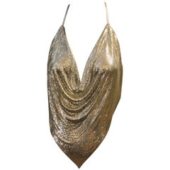 1970s Whiting and Davis Silver Metal Mesh and Leather Drape Halter Top