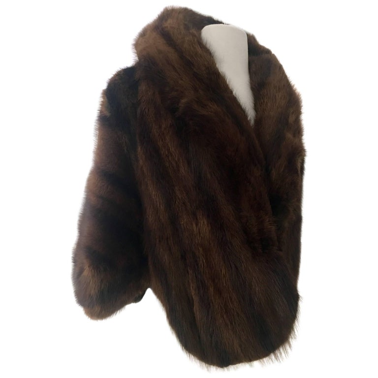 1960'S Chocolate & Black Mink Fur Capelet By, Joseph Noonan Furs