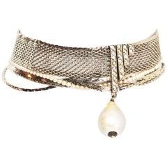 Chanel '90s Silvertone Mesh Choker Necklace w. Pearl Drop