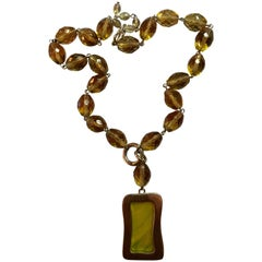 Givenchy Faceted Amber Bead Necklace with Poured Glass Rectangle Pendant