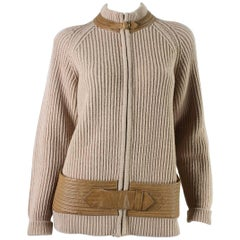 1970's Gucci Cardigan with Leather Detailing