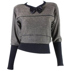Sonia Rykiel Gold & Black Sweater with Bow Detail