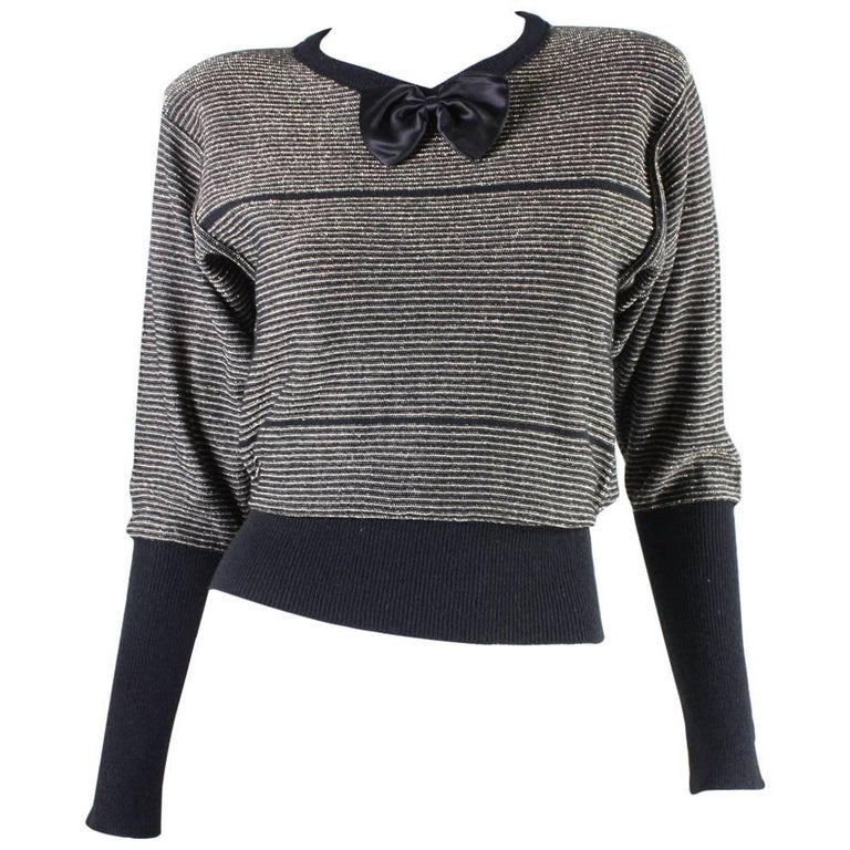 Sonia Rykiel Gold and Black Sweater with Bow Detail at 1stdibs