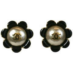 Chanel Enamel Flower Logo Earrings
