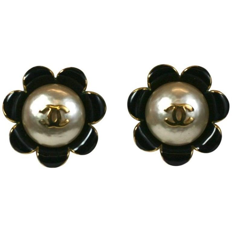 Chanel Enamel Flower Logo Earrings For Sale