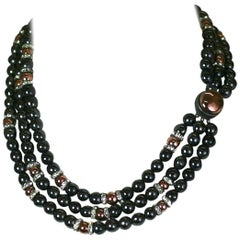 Louis Rousselet Hemitite and Copper Glass Necklace.