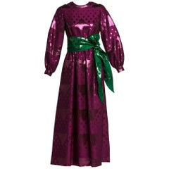 1960s Oscar de la Renta Silk Brocade Purple Emerald Metallic Belt Maxi Dress