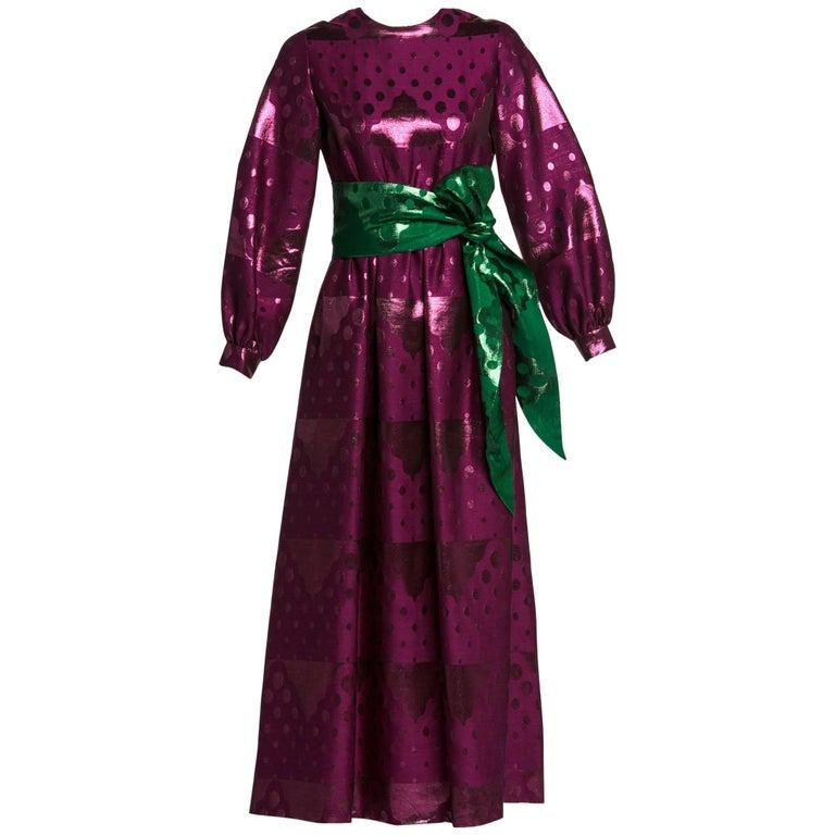 1960s Oscar de la Renta Silk Brocade Purple Emerald Metallic Belt Maxi Dress For Sale