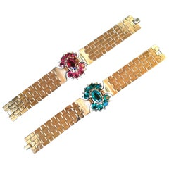 Spectacular Pair of Trifari Bracelets Designed by Alfred Philippe. Retro Style.