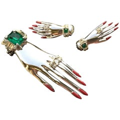 Surrealistic Sterling Silver Hand Set by Corocraft. Clip and Earrings. 1944