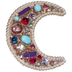 STUNNING Chanel Moon Brooch Multicolor Pearls and Stones / Good Condition