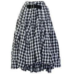 2014 tricot COMME des GARCONS distressed gingham skirt.