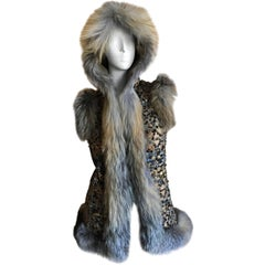 Oscar de la Renta Fox Fur Trim Embellished Vest with Hood