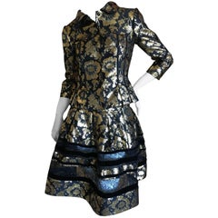 Oscar de la Renta Gold and Black Floral Jacquard Skirt Suit