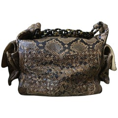 Bottega Veneta Python Crocker Bag with Tortoise Chain