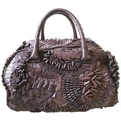 Bottega Veneta Rare Limited Edition Aubergine Woven Leather and Lizard Bag