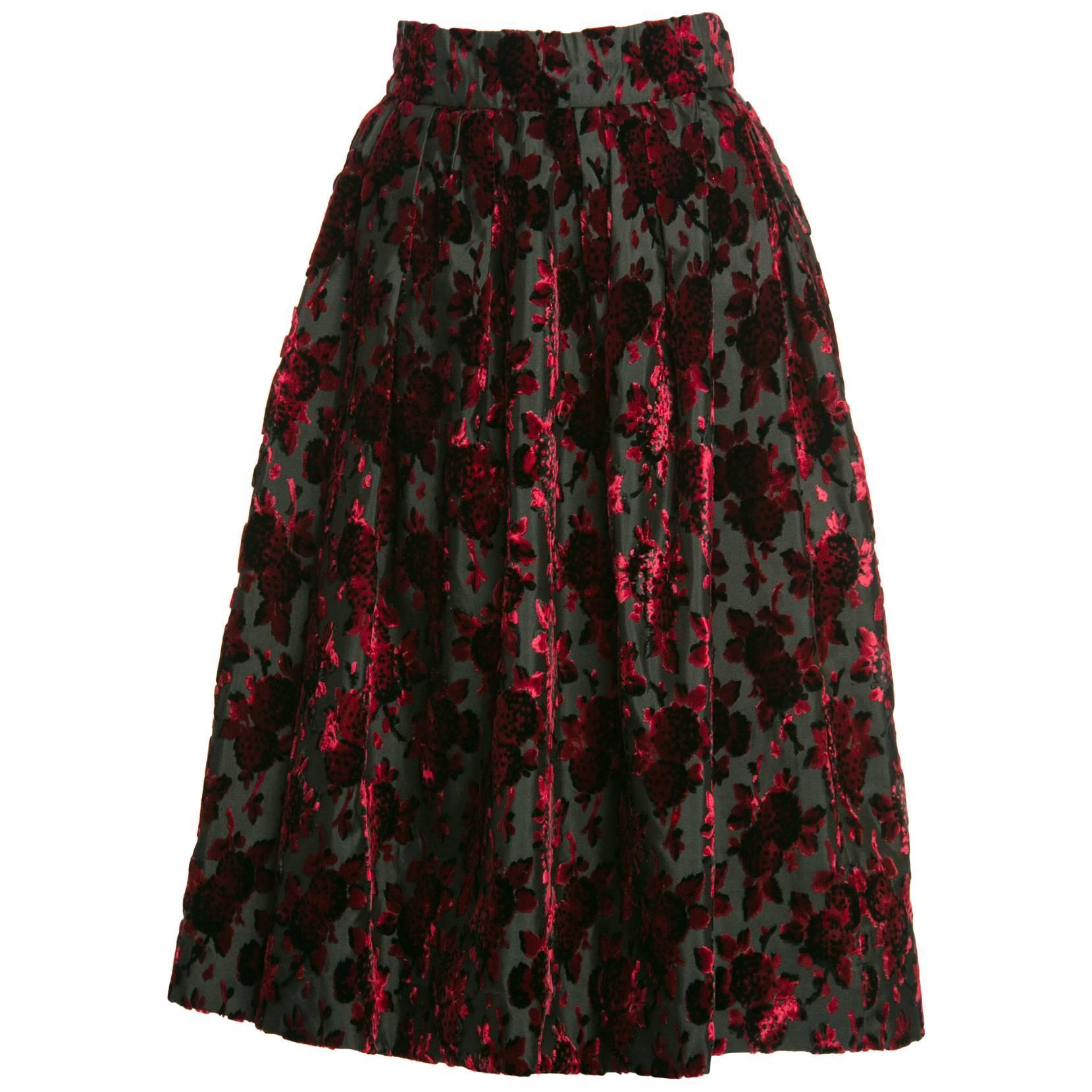 1960s Christian Dior Marc Bohan Demi Couture Red Velvet Florals Silk  Skirt