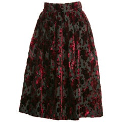 1960s Christian Dior Marc Bohan Demi Couture Red Velvet Florals Silk  Skirt