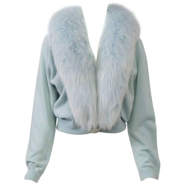 Blue Cashmere/Fox Cardigan For Sale