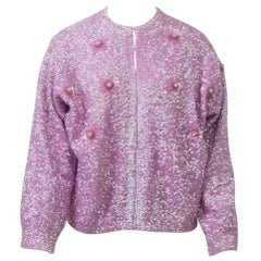 Lavender Sequined Cardigan, Large Size