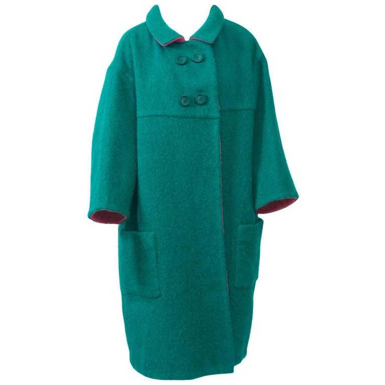 1960s Reversible Green/Pink Mohair Coat