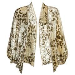 Janice Wainwright Floral Pattern Silk Devoré Velvet Cocoon Jacket Top, 1970s