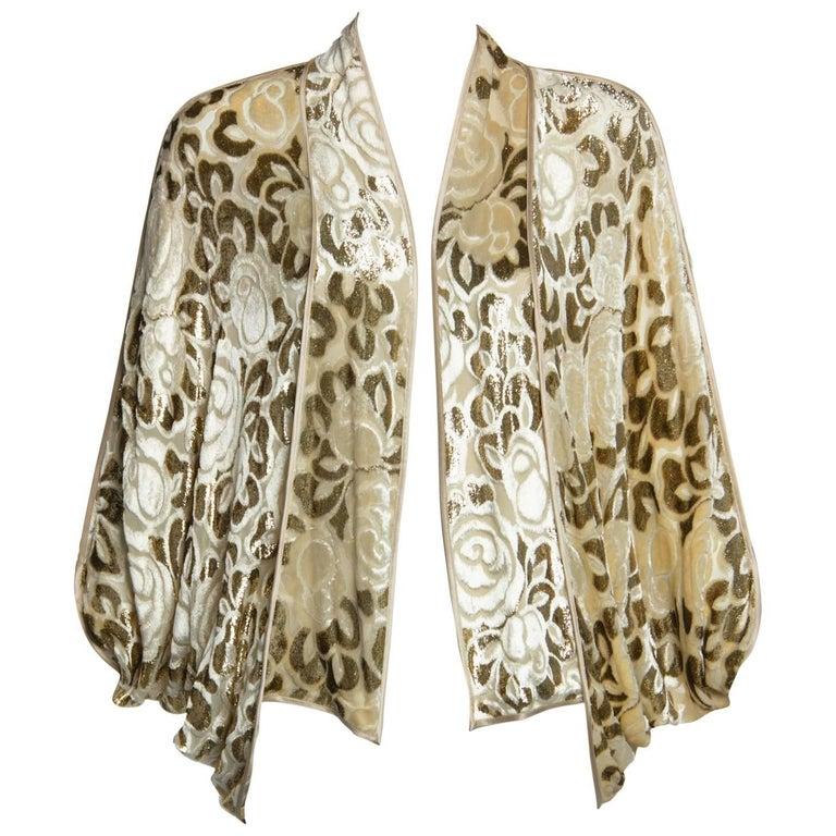 cb441fd66ee61 Janice Wainwright Floral Pattern Silk Devoré Velvet Cocoon Jacket ...