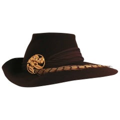 1940s Brown Large Brimmed Hat w/ Pheasant Feather