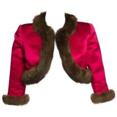 Oscar de la Renta Vintage Satin Fur Trim Bolero Jacket