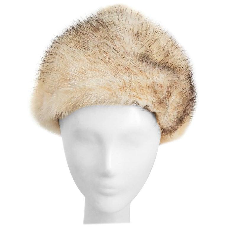1960s Cream Cone Mink Hat For Sale