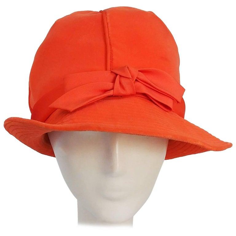 1960s Orange Mod Velvet Cloche Hat For Sale