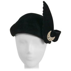1930s Black Velour Hat w/ Crescent Moon Rhinstone Embellishment