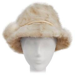 1960s Cream Mink Cloche Hat w/ Pom Poms