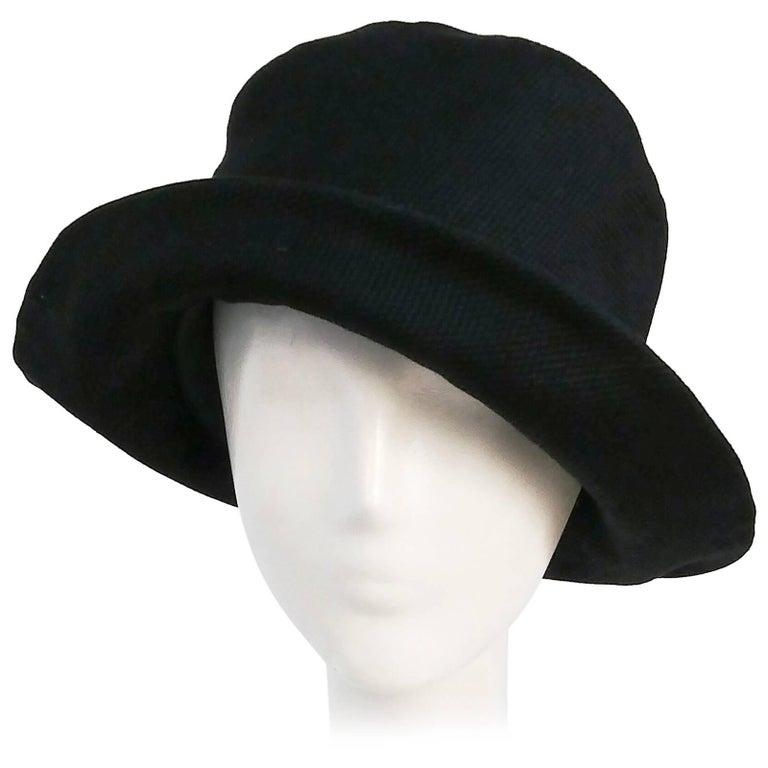 1960s Mod Black Pique Bucket Hat