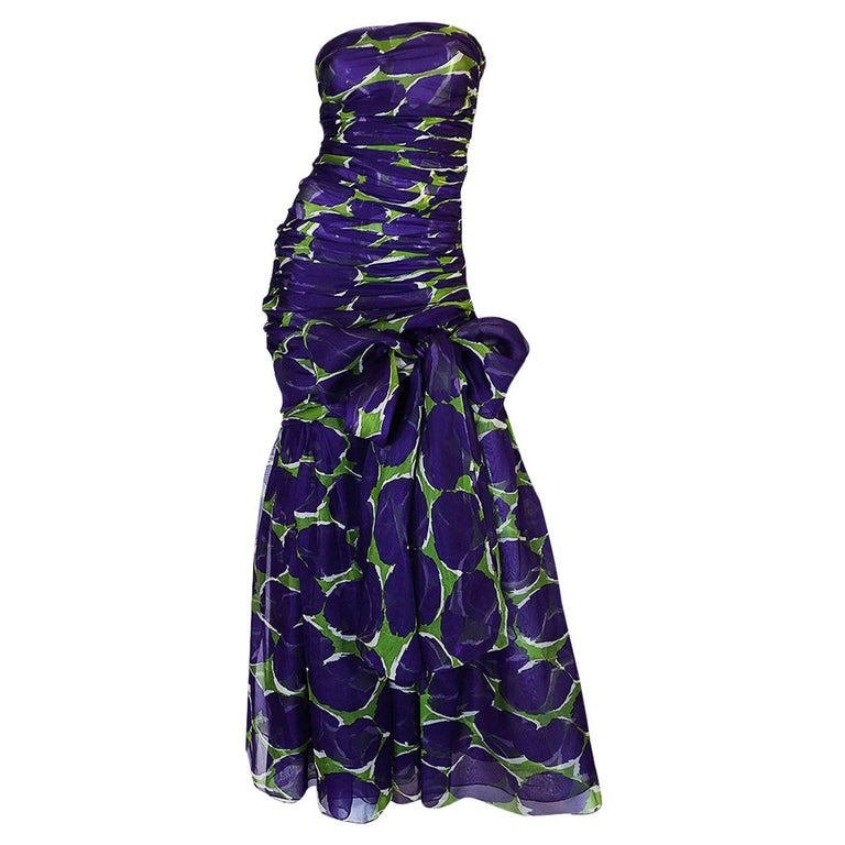 c1985 Yves Saint Laurent Purple & Green Silk Voile Strapless Dress For Sale